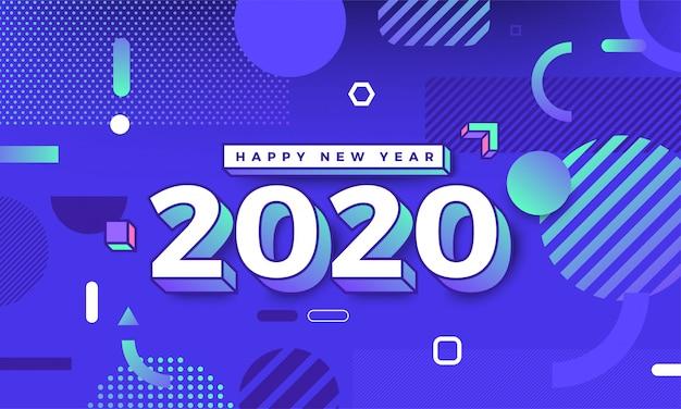 Frohes neues jahr 2020 memphis design