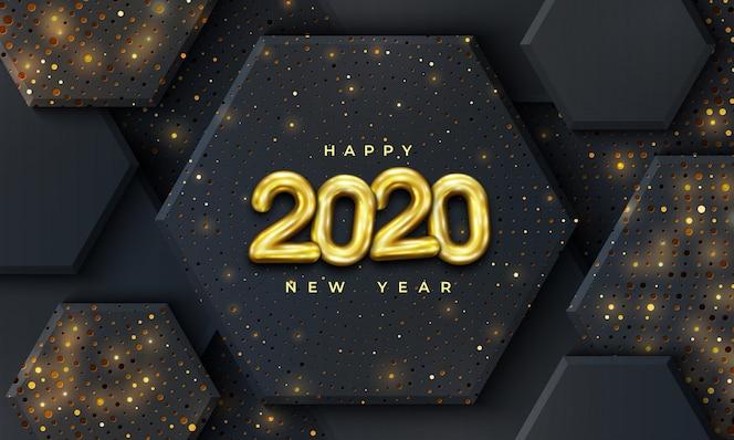 Frohes neues Jahr 2020 mit einer Kombination aus leuchtenden Punkten.