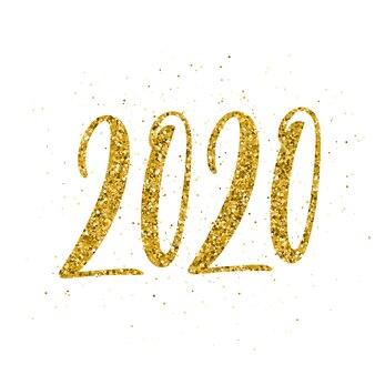 Frohes neues jahr 2020 mit handgezeichneten schriftzug.