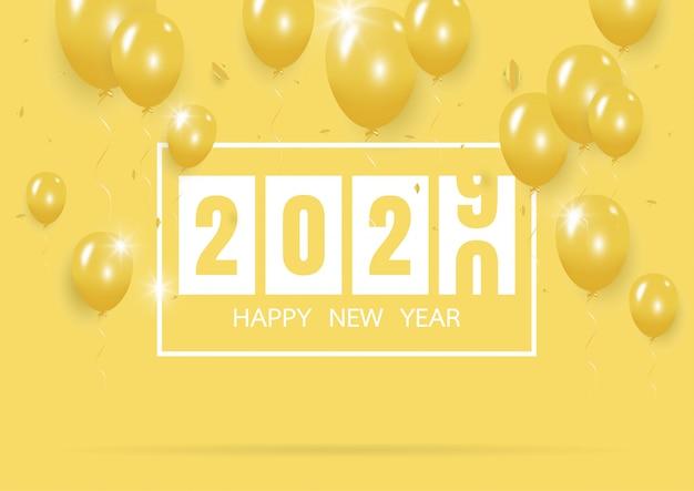 Frohes neues jahr 2020 mit kreativen gelben ballon