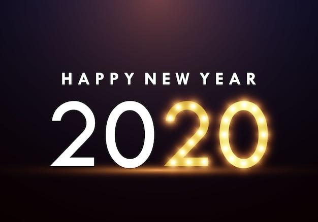 Frohes neues jahr 2020 mit leuchtstofflampen