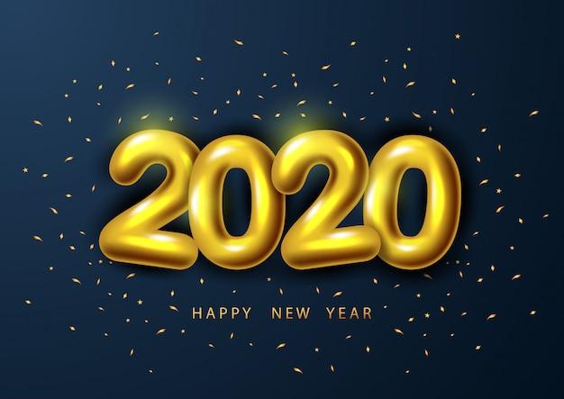 Frohes neues jahr 2020, mit realistischer goldener zahl 2020.