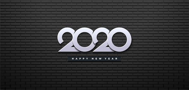 Frohes neues jahr 2020 mit schwarzen wand und weißen zahlen.