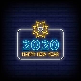 Frohes neues jahr 2020 neon signs style text