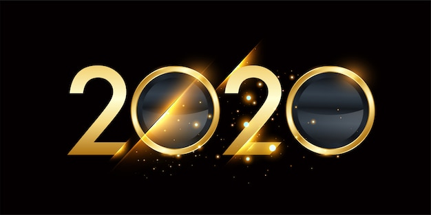 Frohes neues jahr 2020 new year golden shining banner