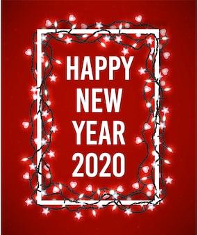 Frohes neues jahr 2020 poster mit funkelnden weihnachtsbeleuchtung
