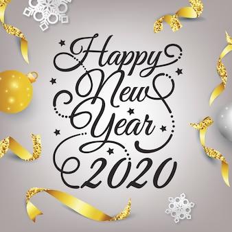 Frohes neues jahr 2020 schriftzug mit realistischer dekoration