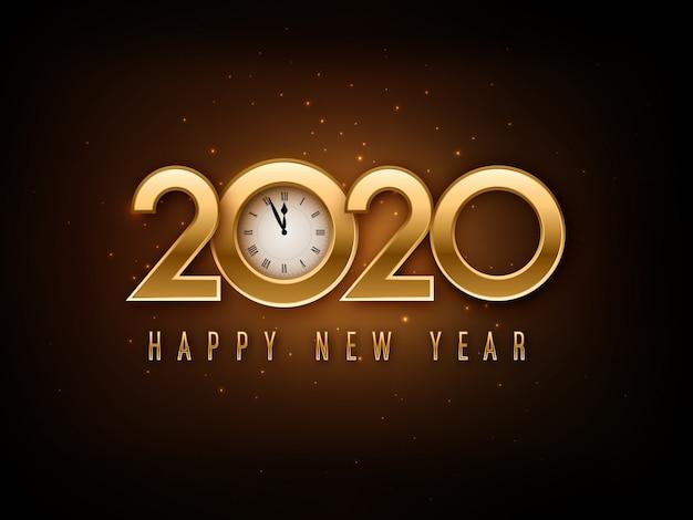 Frohes neues jahr 2020 schriftzug mit uhr