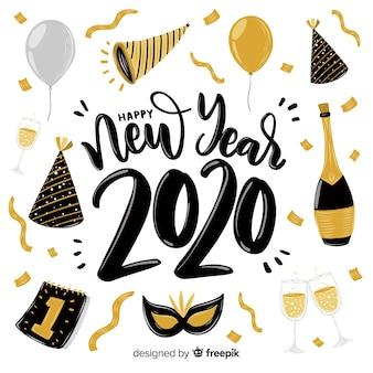 Frohes neues jahr 2020 schriftzug