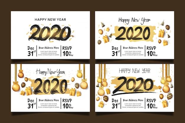 Frohes neues jahr 2020 set mit goldenen pinsel