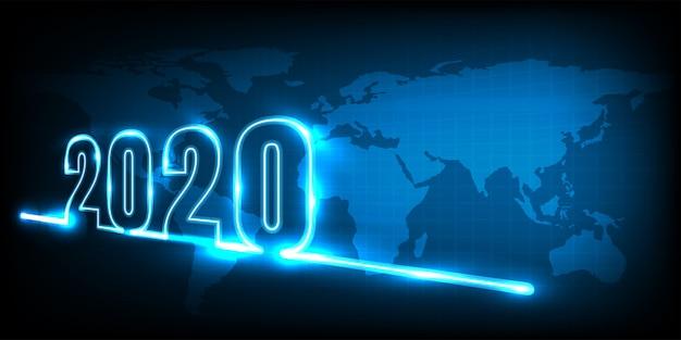 Frohes neues jahr 2020. technologie abstrakt