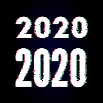 Frohes neues jahr 2020 text design glitch