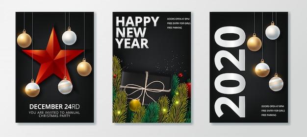 Frohes neues jahr 2020 und frohe weihnachten grußkarte festgelegt