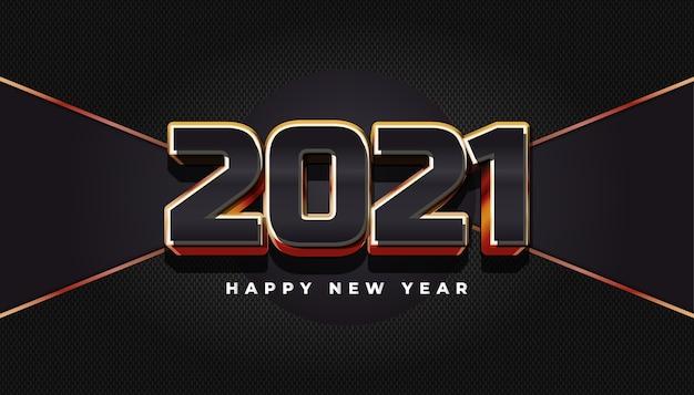 Frohes neues jahr 2021 banner mit eleganten 3d-zahlen auf abstraktem hintergrund