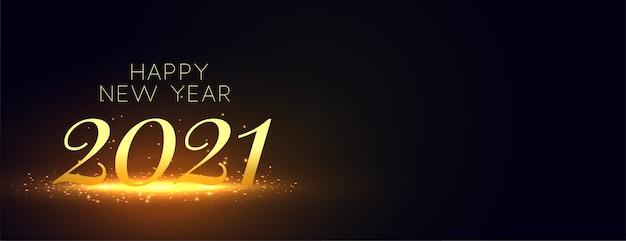 Frohes neues jahr 2021 banner mit goldenen glitzern