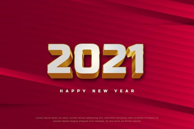 Frohes neues jahr 2021 banner mit weißen und goldenen 3d-zahlen auf rotem abstraktem hintergrund