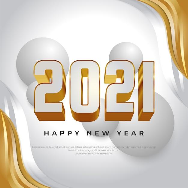 Frohes neues jahr 2021 banner mit weißen und goldenen zahlen auf flüssigem hintergrund