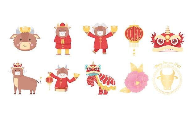 Frohes neues jahr 2021 chinesisch, ikonen gesetzt mit ochse, blume, laterne, drache und mehr illustration