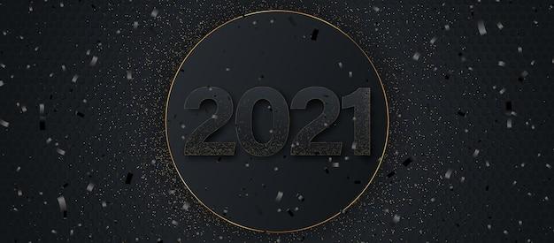 Frohes neues jahr 2021. eleganter goldtext mit licht.