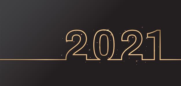 Frohes neues jahr 2021 elegantes design auf schwarzem hintergrund. goldene 2021 zahlen.