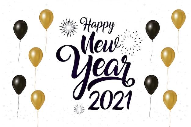 Frohes neues jahr 2021 feierplakat mit luftballons helium