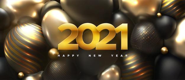 Frohes neues jahr 2021. feiertagsillustration der goldenen zahlen 2021 und der abstrakten schwarzen kugeln oder blasen. 3d-zeichen