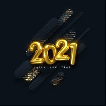 Frohes neues jahr 2021. feiertagsillustration. goldene zahlen auf schwarzem papier formen hintergrund mit glitzernden partikeln strukturiert. geschichtete papierschnittdekoration. festliche banner vorlage