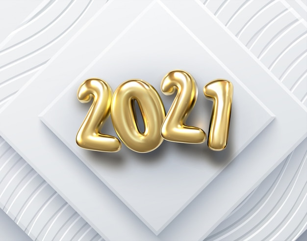 Frohes neues jahr 2021. feiertagsillustration. papier 3d zahlen auf weißem abstraktem hintergrund. festliches banner. geometrische dreiecksformen und kugeln.