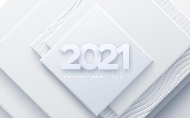 Frohes neues jahr 2021. feiertagsillustration. papier 3d zahlen auf weißem abstraktem hintergrund. festliches veranstaltungsbanner. geometrische quadratische formen.