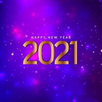 Frohes neues jahr 2021 funkelnder violetter hintergrund