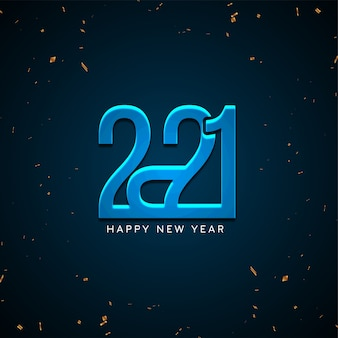 Frohes neues jahr 2021 glänzend blauen hintergrund
