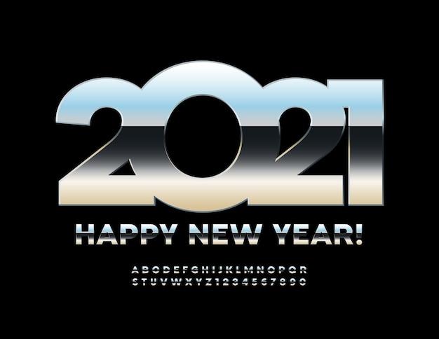 Frohes neues jahr 2021. glänzende chromschrift. buchstaben und zahlen des metallalphabets