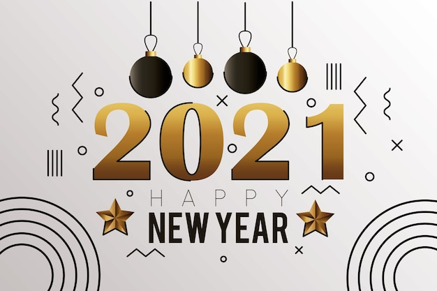 Frohes neues jahr 2021 goldene karte mit hängenden kartenillustrationen der kugeln