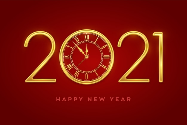 Frohes neues jahr 2021. goldene metallische luxusnummern 2021 mit goldener uhr mit countdown mitternacht.