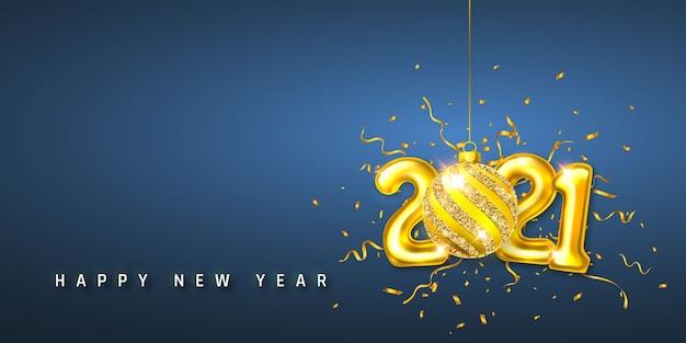 Frohes neues jahr 2021. goldener heliumballon mit den nummern 2021 und weihnachtsball mit konfetti