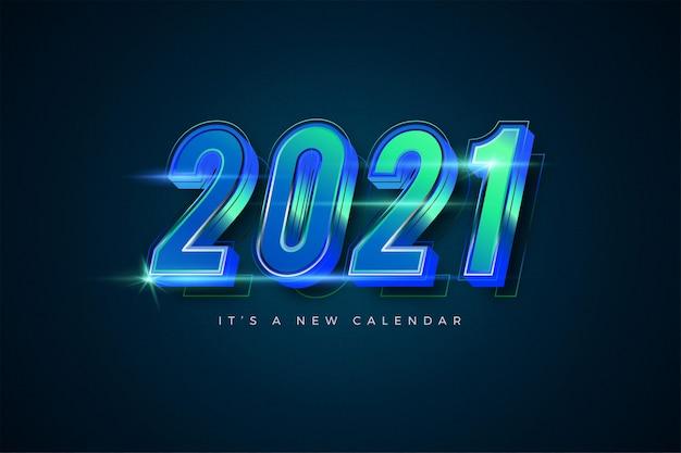 Frohes neues jahr 2021 gradient smaragd bunte vorlage für kalender