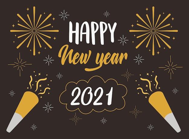 Frohes neues jahr 2021, grußkartenbeschriftung konfetti feuerwerk feier vektor-illustration