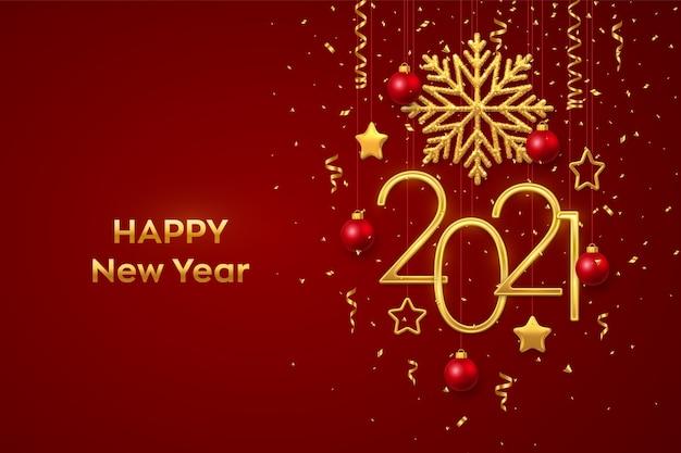 Frohes neues jahr 2021. hängende goldene metallnummern 2021 mit leuchtender schneeflocke