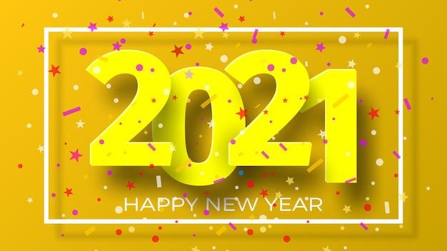 Frohes neues jahr 2021 hintergrund mit konfetti. grußkartenentwurf.