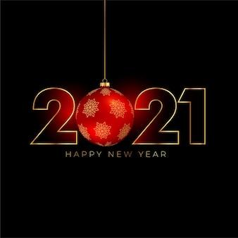 Frohes neues jahr 2021 hintergrund mit weihnachtsball