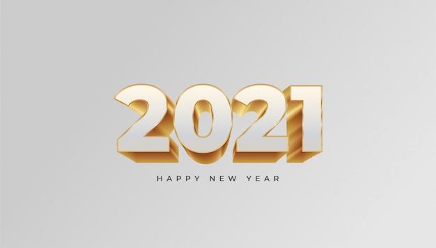 Frohes neues jahr 2021 illustration mit gold und weißem text auf weißem hintergrund