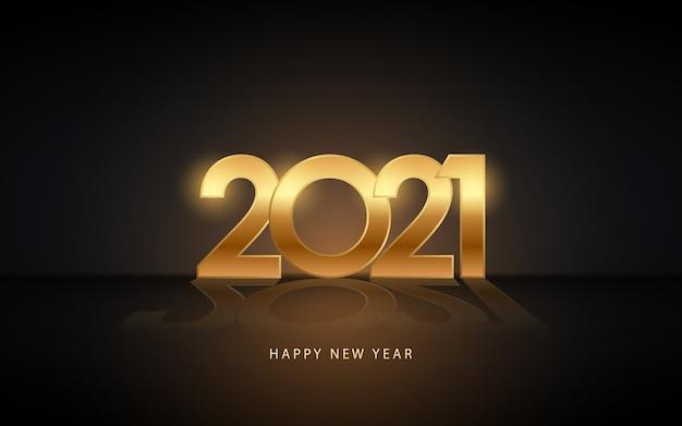 Frohes neues jahr 2021 im goldenen etikett mit reflexion auf schwarzem farbhintergrund