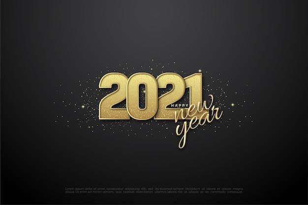 Frohes neues jahr 2021 mit 3d-goldglitzernummern.