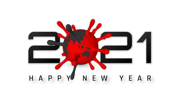 Frohes neues jahr 2021 mit coronavirus-zelle.
