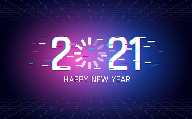 Frohes neues jahr 2021 mit dem laden des glitch-font-effekts im hintergrund der neonlichtfarbe