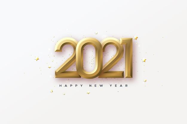 Frohes neues jahr 2021 mit eleganten 3d-goldzahlen.