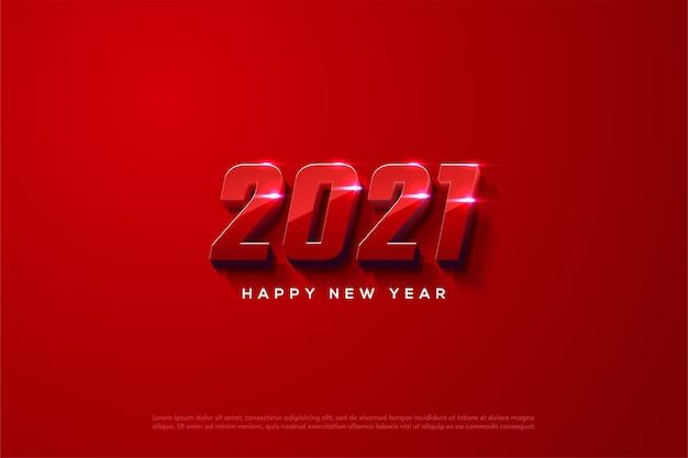 Frohes neues jahr 2021 mit eleganten roten 3d-zahlen