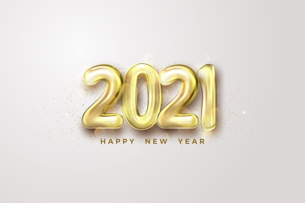 Frohes neues jahr 2021 mit goldenen ballonnummern.