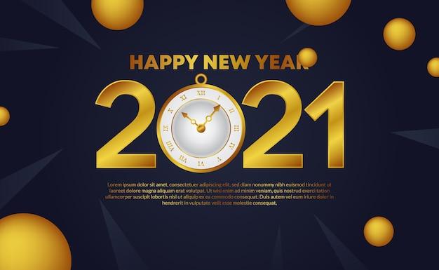 Frohes neues jahr 2021 mit goldener textnummer mit uhrenuhr und goldener kreisdekoration für grußkarte, plakatfahne
