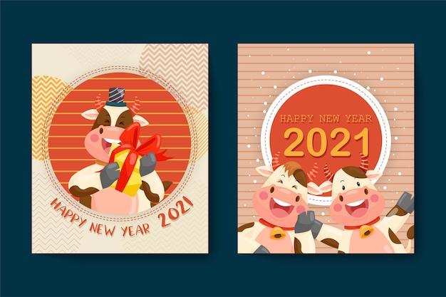 Frohes neues jahr 2021 mit lächelndem anthuriumcharakter